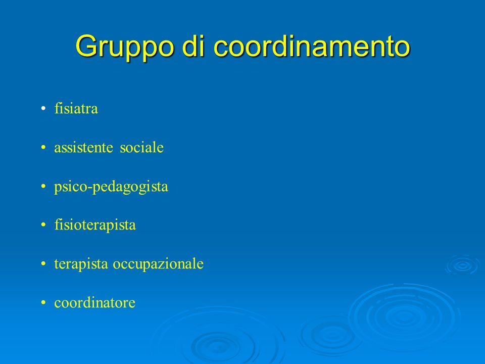 Gruppo di coordinamento fisiatra assistente sociale psico-pedagogista fisioterapista terapista occupazionale coordinatore