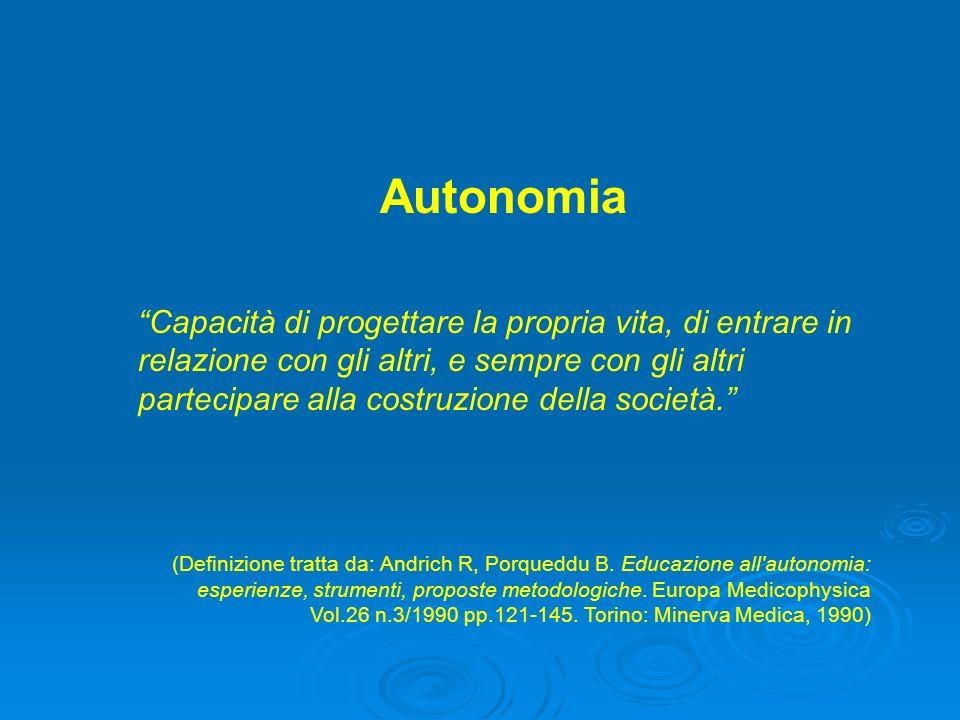 Autonomia Capacità di progettare la propria vita, di entrare in relazione con gli altri, e sempre con gli altri partecipare alla costruzione della società.