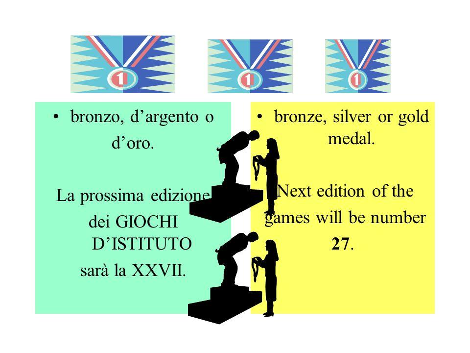 bronzo, dargento o doro. La prossima edizione dei GIOCHI DISTITUTO sarà la XXVII.