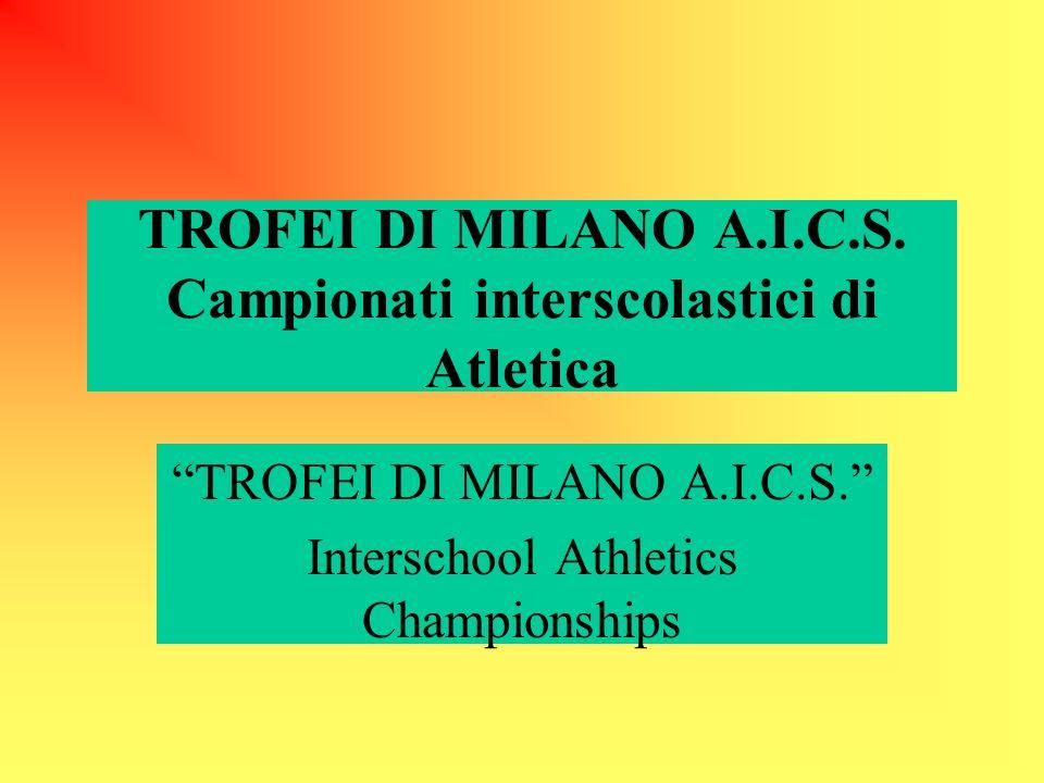 TROFEI DI MILANO A.I.C.S. Campionati interscolastici di Atletica TROFEI DI MILANO A.I.C.S.
