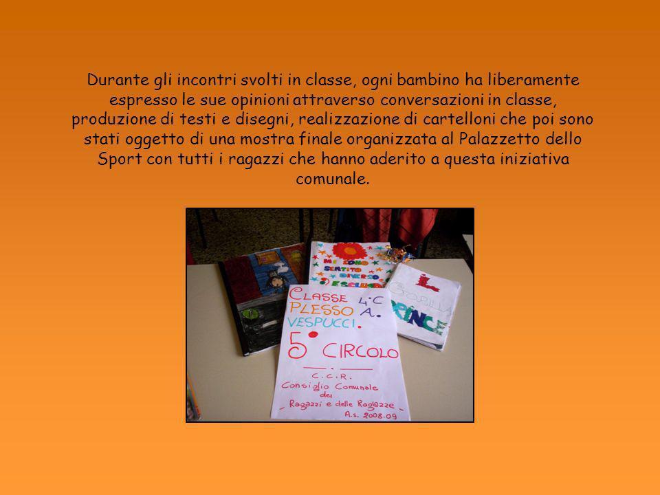 Durante gli incontri svolti in classe, ogni bambino ha liberamente espresso le sue opinioni attraverso conversazioni in classe, produzione di testi e