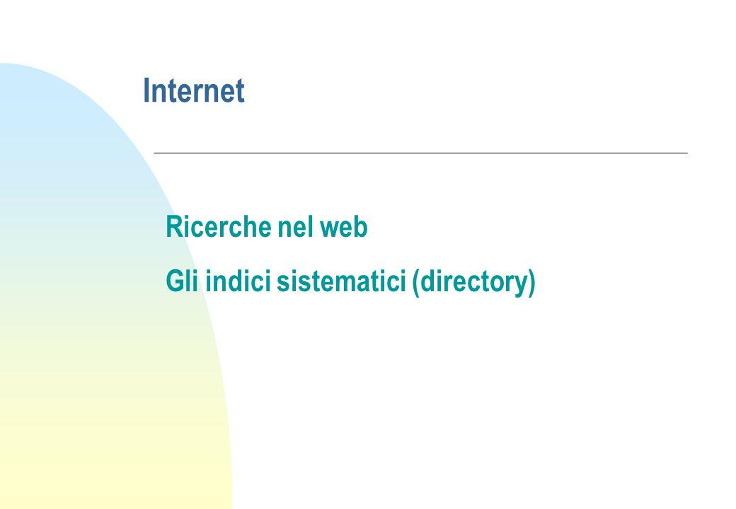 Internet Ricerche nel web Gli indici sistematici (directory)