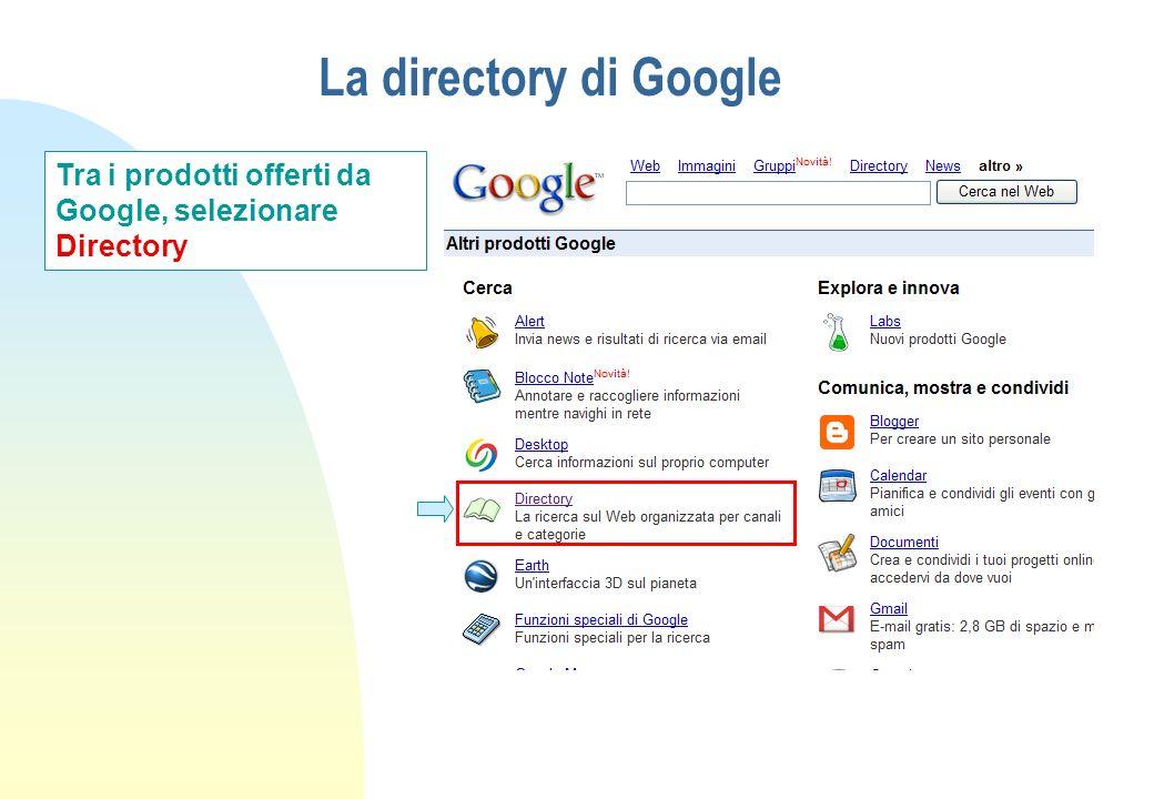 La directory di Google Tra i prodotti offerti da Google, selezionare Directory