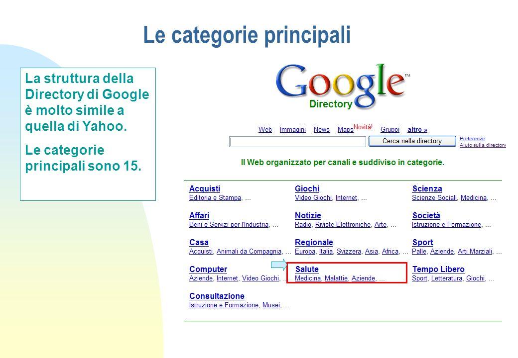 Le categorie principali La struttura della Directory di Google è molto simile a quella di Yahoo. Le categorie principali sono 15.