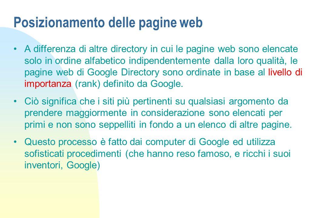 Posizionamento delle pagine web A differenza di altre directory in cui le pagine web sono elencate solo in ordine alfabetico indipendentemente dalla loro qualità, le pagine web di Google Directory sono ordinate in base al livello di importanza (rank) definito da Google.