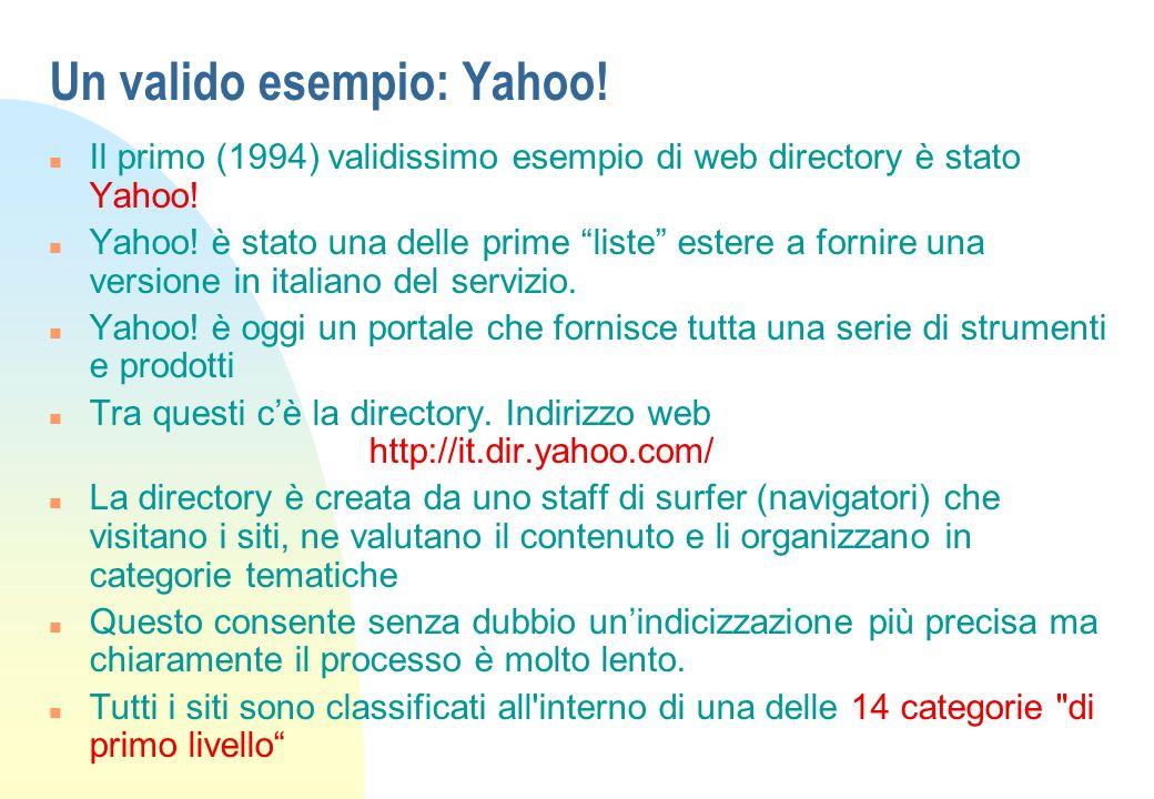 Un valido esempio: Yahoo! n Il primo (1994) validissimo esempio di web directory è stato Yahoo! n Yahoo! è stato una delle prime liste estere a fornir