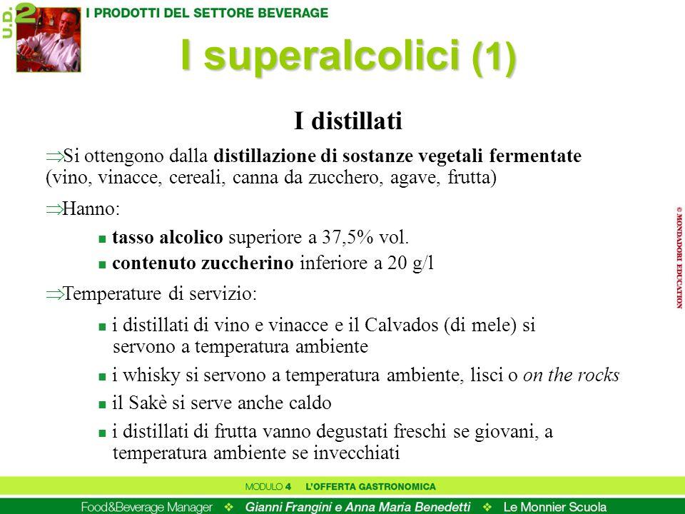 I superalcolici (1) Si ottengono dalla distillazione di sostanze vegetali fermentate (vino, vinacce, cereali, canna da zucchero, agave, frutta) Hanno: