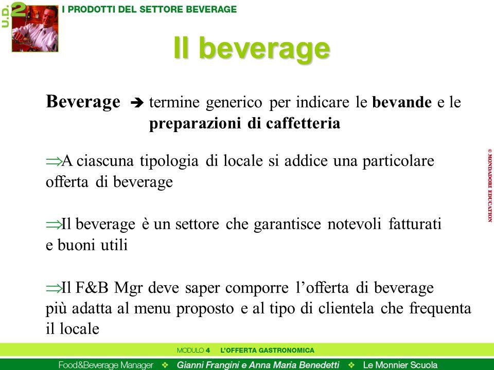 Il beverage Beverage termine generico per indicare le bevande e le preparazioni di caffetteria A ciascuna tipologia di locale si addice una particolar