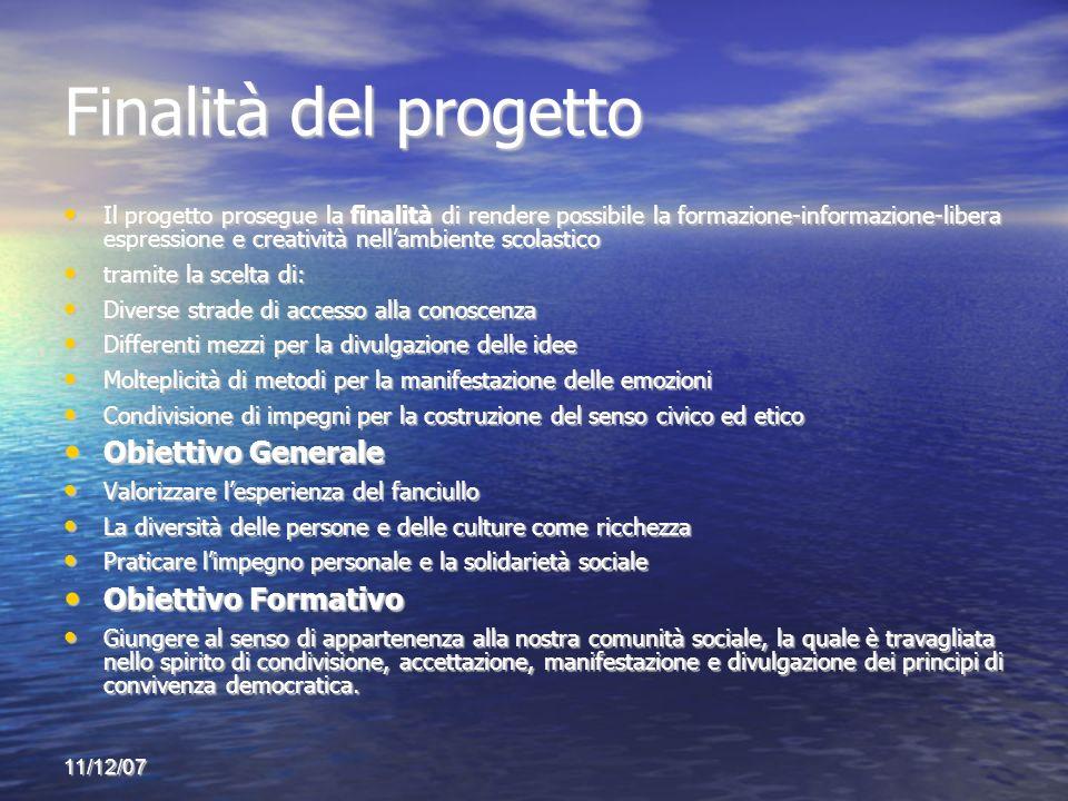 11/12/07 Finalità del progetto Il progetto prosegue la finalità di rendere possibile la formazione-informazione-libera espressione e creatività nellam