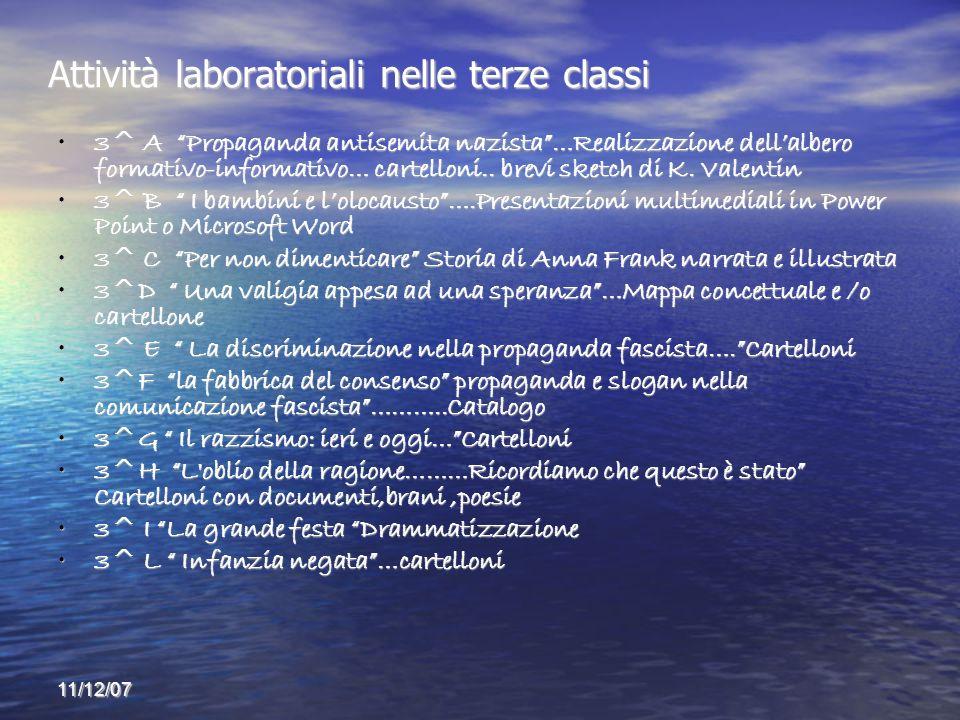 11/12/07 Attività laboratoriali nelle terze classi 3^ A Propaganda antisemita nazista…Realizzazione dellalbero formativo-informativo… cartelloni..