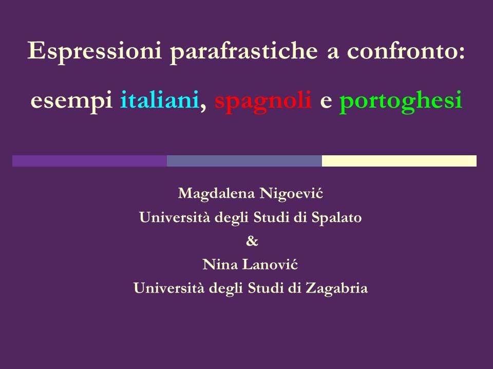 Espressioni parafrastiche a confronto: esempi italiani, spagnoli e portoghesi Magdalena Nigoević Università degli Studi di Spalato & Nina Lanović Univ