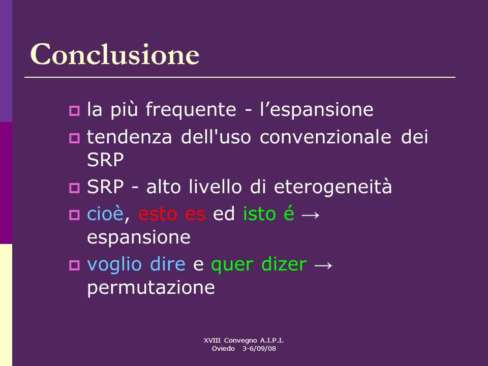 XVIII Convegno A.I.P.I. Oviedo 3-6/09/08 Conclusione la più frequente - lespansione tendenza dell'uso convenzionale dei SRP SRP - alto livello di eter
