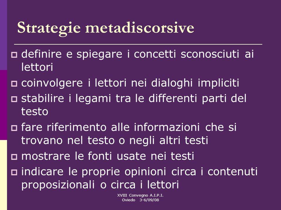XVIII Convegno A.I.P.I. Oviedo 3-6/09/08 Strategie metadiscorsive definire e spiegare i concetti sconosciuti ai lettori coinvolgere i lettori nei dial