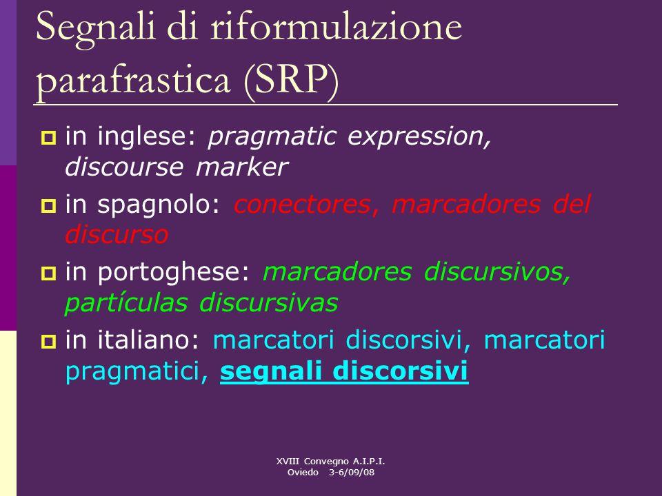 XVIII Convegno A.I.P.I. Oviedo 3-6/09/08 Segnali di riformulazione parafrastica (SRP) in inglese: pragmatic expression, discourse marker in spagnolo: