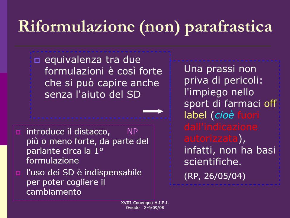 XVIII Convegno A.I.P.I. Oviedo 3-6/09/08 Riformulazione (non) parafrastica equivalenza tra due formulazioni è così forte che si può capire anche senza