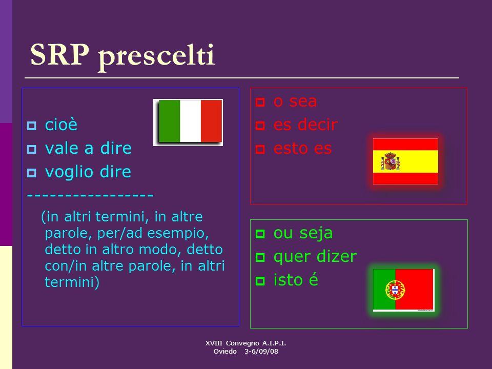 XVIII Convegno A.I.P.I. Oviedo 3-6/09/08 SRP prescelti cioè vale a dire voglio dire ----------------- (in altri termini, in altre parole, per/ad esemp