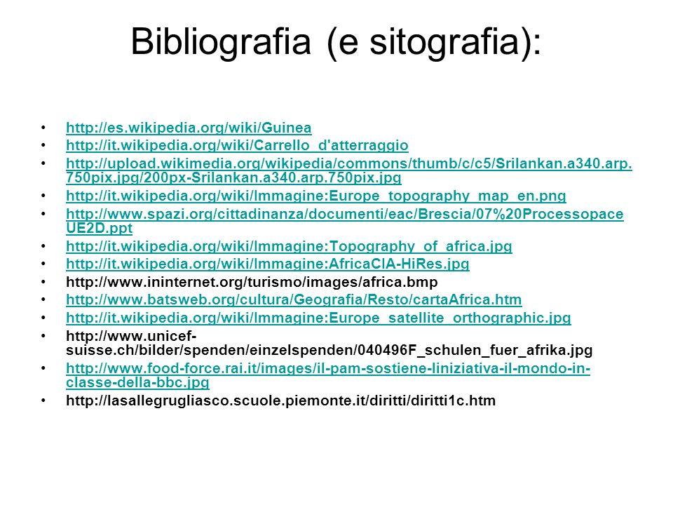 Bibliografia (e sitografia): http://es.wikipedia.org/wiki/Guinea http://it.wikipedia.org/wiki/Carrello_d'atterraggio http://upload.wikimedia.org/wikip