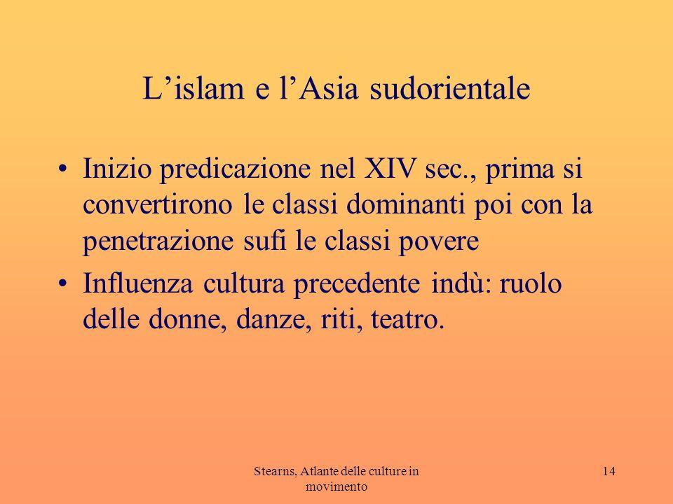 Stearns, Atlante delle culture in movimento 14 Lislam e lAsia sudorientale Inizio predicazione nel XIV sec., prima si convertirono le classi dominanti