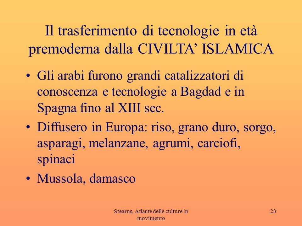 Stearns, Atlante delle culture in movimento 23 Il trasferimento di tecnologie in età premoderna dalla CIVILTA ISLAMICA Gli arabi furono grandi cataliz