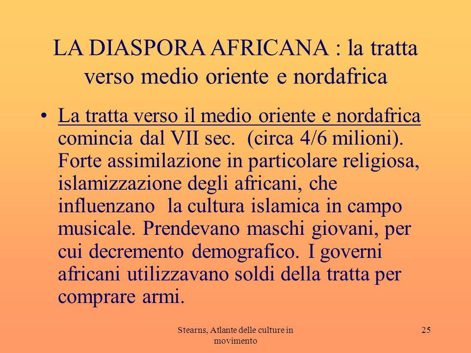 Stearns, Atlante delle culture in movimento 25 LA DIASPORA AFRICANA : la tratta verso medio oriente e nordafrica La tratta verso il medio oriente e no