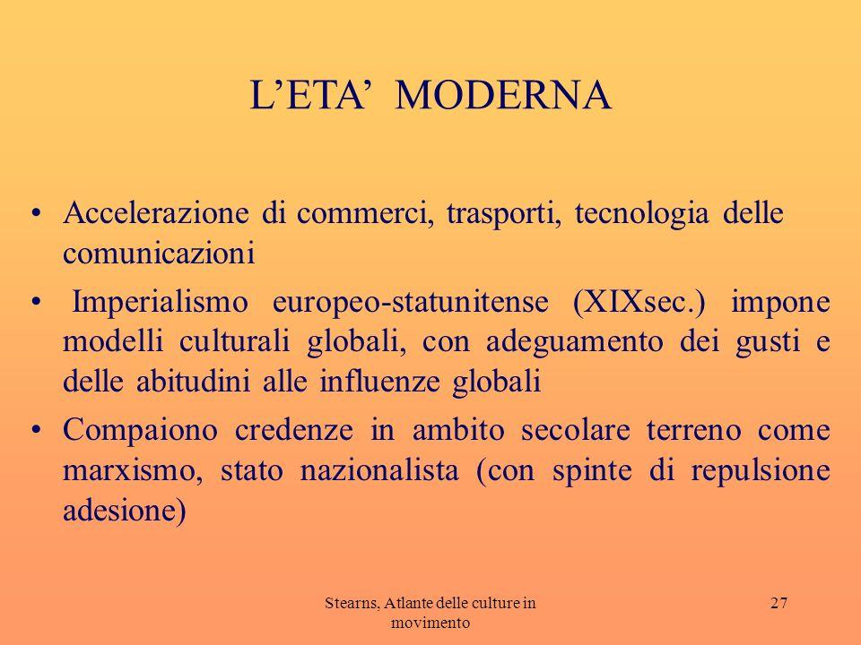 Stearns, Atlante delle culture in movimento 27 LETA MODERNA Accelerazione di commerci, trasporti, tecnologia delle comunicazioni Imperialismo europeo-