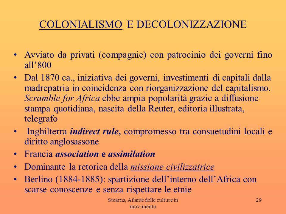 Stearns, Atlante delle culture in movimento 29 COLONIALISMO E DECOLONIZZAZIONE Avviato da privati (compagnie) con patrocinio dei governi fino all800 D