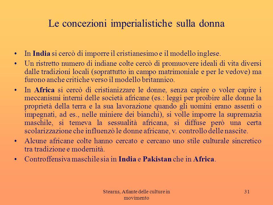 Stearns, Atlante delle culture in movimento 31 Le concezioni imperialistiche sulla donna In India si cercò di imporre il cristianesimo e il modello in