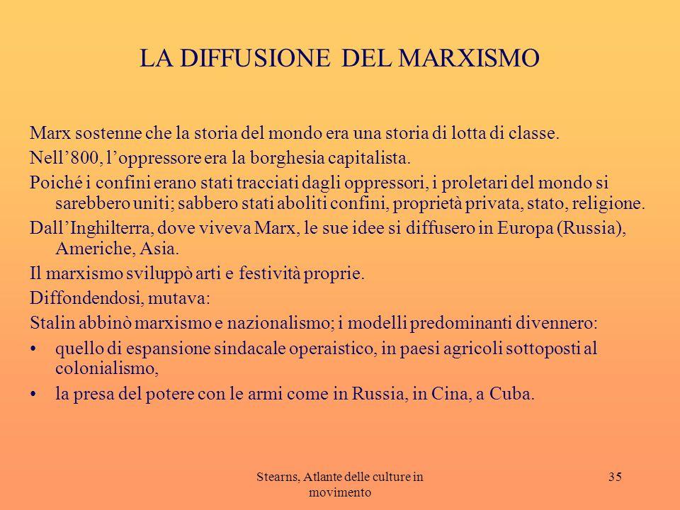 Stearns, Atlante delle culture in movimento 35 LA DIFFUSIONE DEL MARXISMO Marx sostenne che la storia del mondo era una storia di lotta di classe. Nel