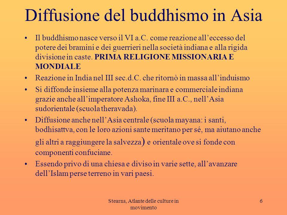 Stearns, Atlante delle culture in movimento 6 Diffusione del buddhismo in Asia Il buddhismo nasce verso il VI a.C. come reazione alleccesso del potere