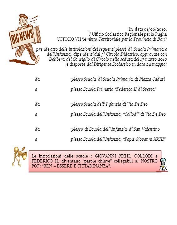 In data 01/06/2010, l Ufficio Scolastico Regionale per la Puglia UFFICIO VII Ambito Territoriale per la Provincia di Bari prende atto delle intitolazi