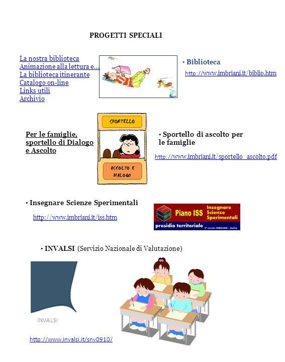 PROGETTI SPECIALI Biblioteca La nostra biblioteca Animazione alla lettura e... La biblioteca itinerante Catalogo on-line Links utili Archivio http://