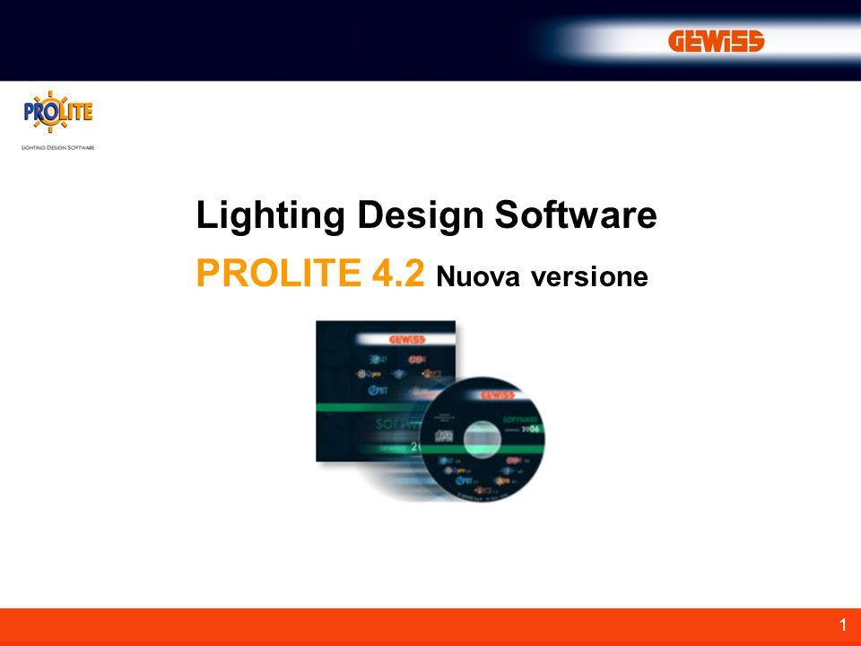 1 Lighting Design Software PROLITE 4.2 Nuova versione