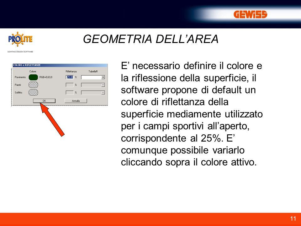 11 GEOMETRIA DELLAREA E necessario definire il colore e la riflessione della superficie, il software propone di default un colore di riflettanza della superficie mediamente utilizzato per i campi sportivi allaperto, corrispondente al 25%.