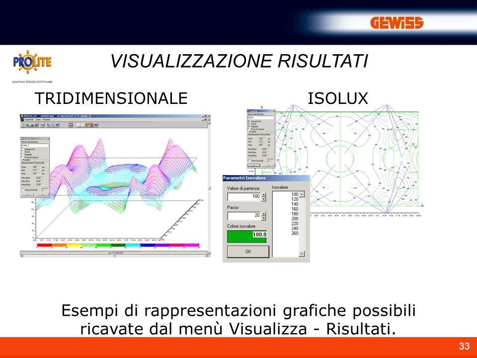 33 Esempi di rappresentazioni grafiche possibili ricavate dal menù Visualizza - Risultati. VISUALIZZAZIONE RISULTATI TRIDIMENSIONALEISOLUX