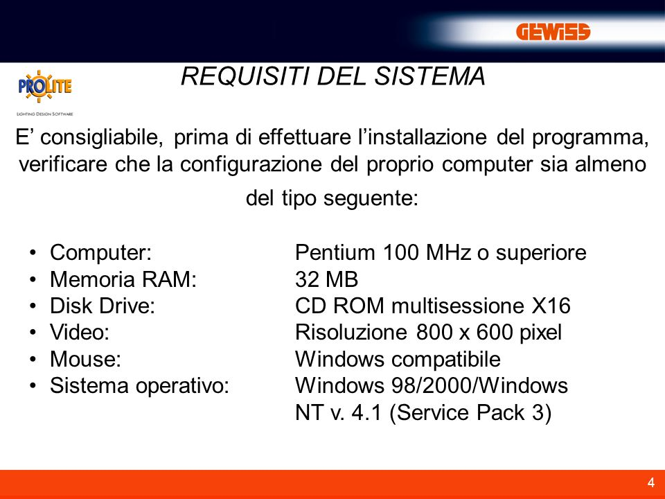 4 REQUISITI DEL SISTEMA Computer:Pentium 100 MHz o superiore Memoria RAM:32 MB Disk Drive:CD ROM multisessione X16 Video:Risoluzione 800 x 600 pixel M