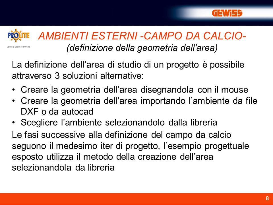 8 AMBIENTI ESTERNI -CAMPO DA CALCIO- (definizione della geometria dellarea) La definizione dellarea di studio di un progetto è possibile attraverso 3