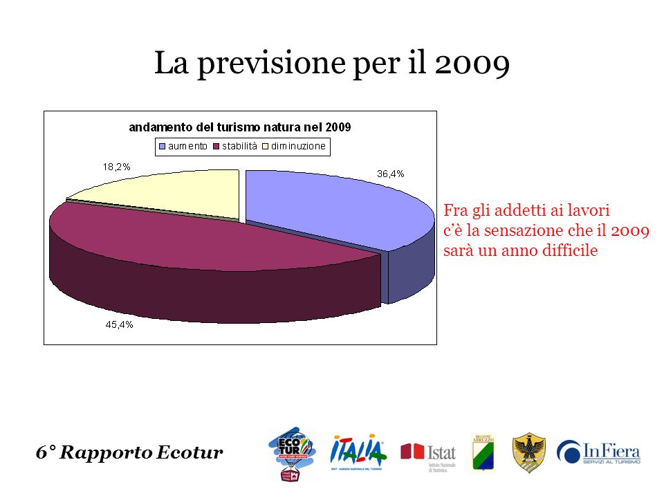 La previsione per il 2009 6° Rapporto Ecotur Fra gli addetti ai lavori cè la sensazione che il 2009 sarà un anno difficile