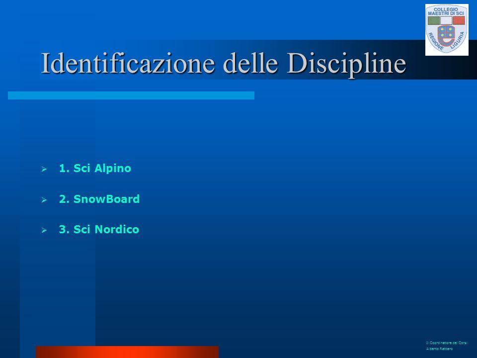 Identificazione delle Discipline 1. Sci Alpino 2. SnowBoard 3. Sci Nordico Il Coordinatore dei Corsi Alberto Rattaro