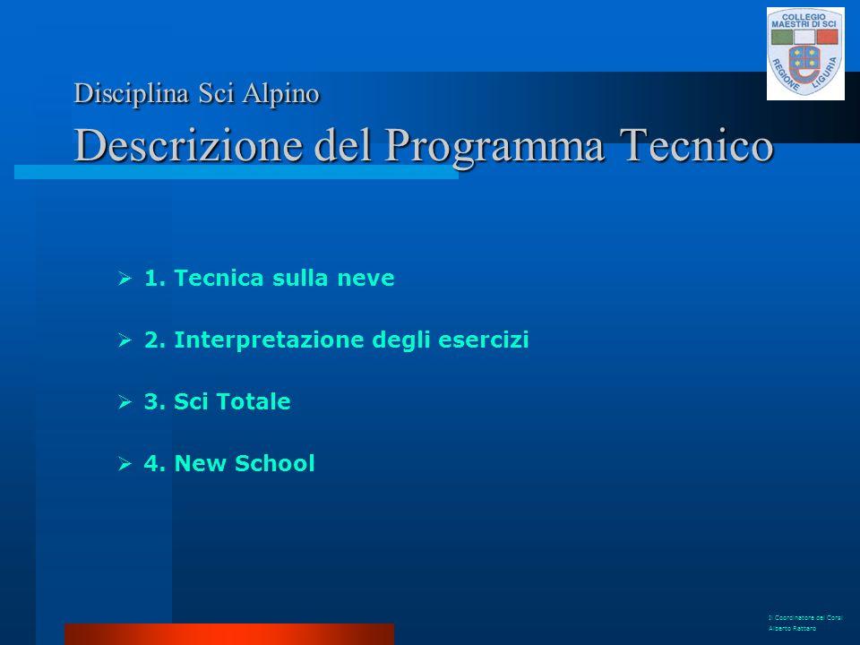 Disciplina Sci Alpino Descrizione del Programma Tecnico 1. Tecnica sulla neve 2. Interpretazione degli esercizi 3. Sci Totale 4. New School Il Coordin