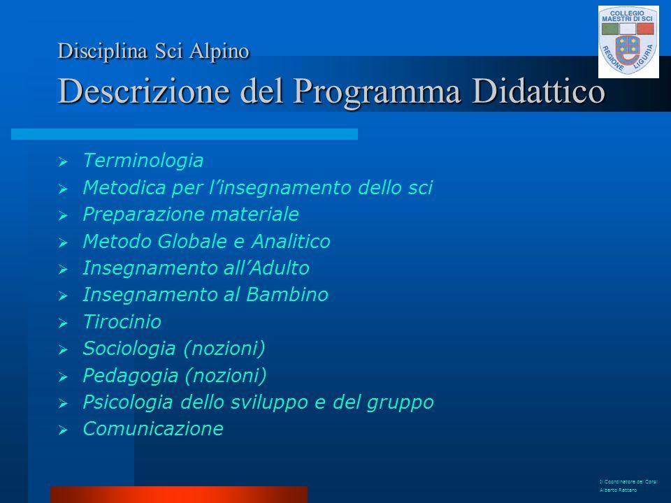 Disciplina Sci Alpino Descrizione del Programma Didattico Terminologia Metodica per linsegnamento dello sci Preparazione materiale Metodo Globale e An
