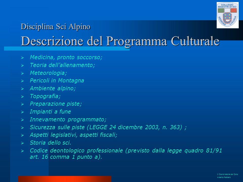 Disciplina Sci Alpino Descrizione del Programma Culturale Medicina, pronto soccorso; Teoria dellallenamento; Meteorologia; Pericoli in Montagna Ambien