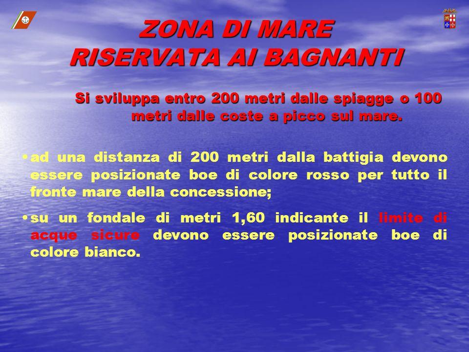 ZONA DI MARE RISERVATA AI BAGNANTI Si sviluppa entro 200 metri dalle spiagge o 100 metri dalle coste a picco sul mare. ad una distanza di 200 metri da