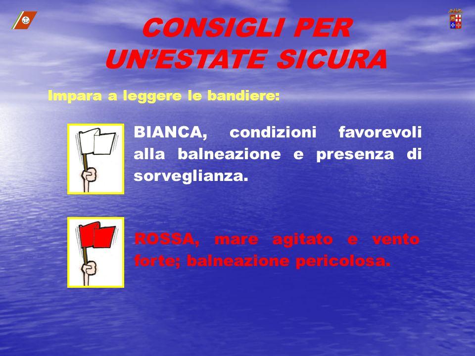 BIANCA, condizioni favorevoli alla balneazione e presenza di sorveglianza. ROSSA, mare agitato e vento forte; balneazione pericolosa. Impara a leggere