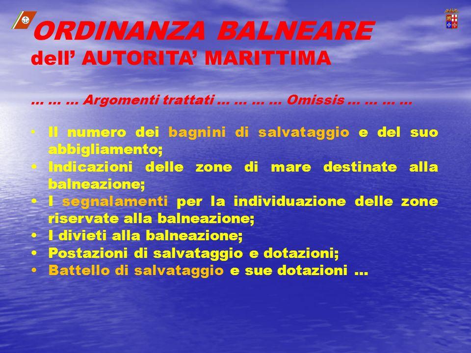 ORDINANZA BALNEARE dell AUTORITA MARITTIMA …......