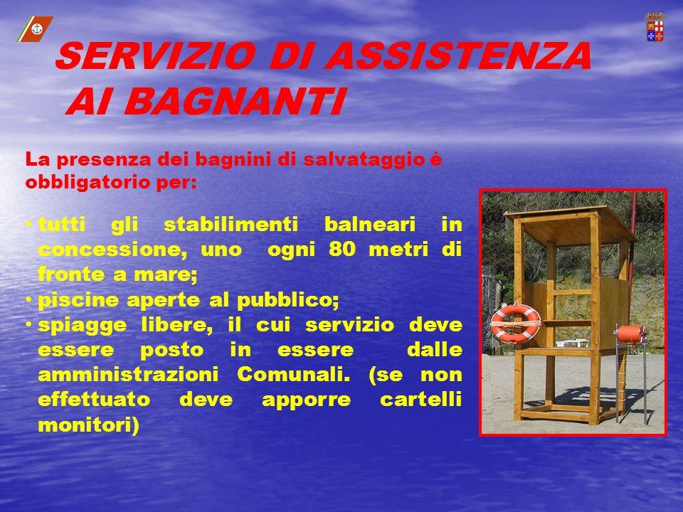La presenza dei bagnini di salvataggio è obbligatorio per: tutti gli stabilimenti balneari in concessione, uno ogni 80 metri di fronte a mare; piscine