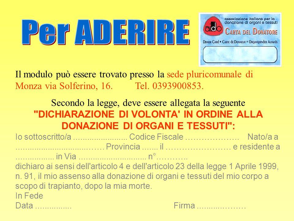 Il modulo può essere trovato presso la sede pluricomunale di Monza via Solferino, 16. Tel. 0393900853. Secondo la legge, deve essere allegata la segue
