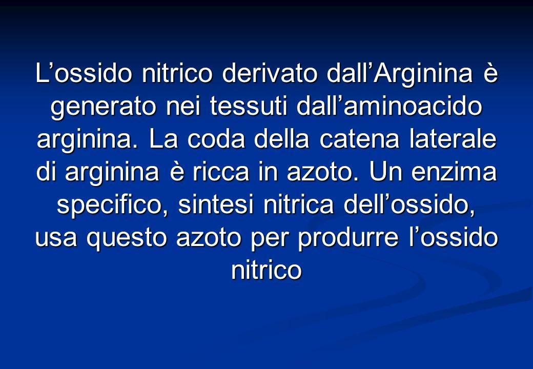 Lossido nitrico derivato dallArginina è generato nei tessuti dallaminoacido arginina.