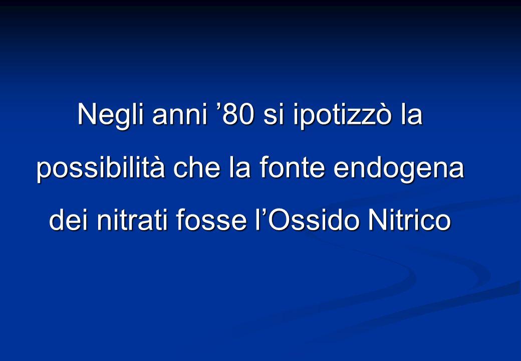 Negli anni 80 si ipotizzò la possibilità che la fonte endogena dei nitrati fosse lOssido Nitrico