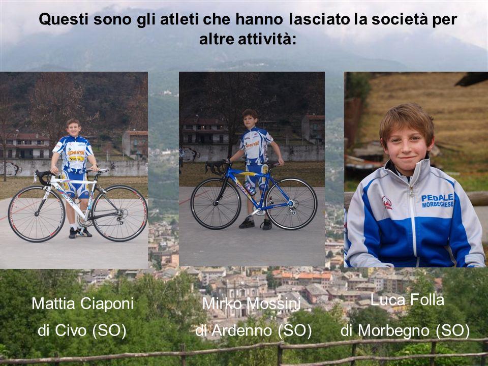 Questi sono gli atleti che hanno lasciato la società per altre attività: Mirko Mossini di Ardenno (SO) Luca Folla di Morbegno (SO) Mattia Ciaponi di Civo (SO)