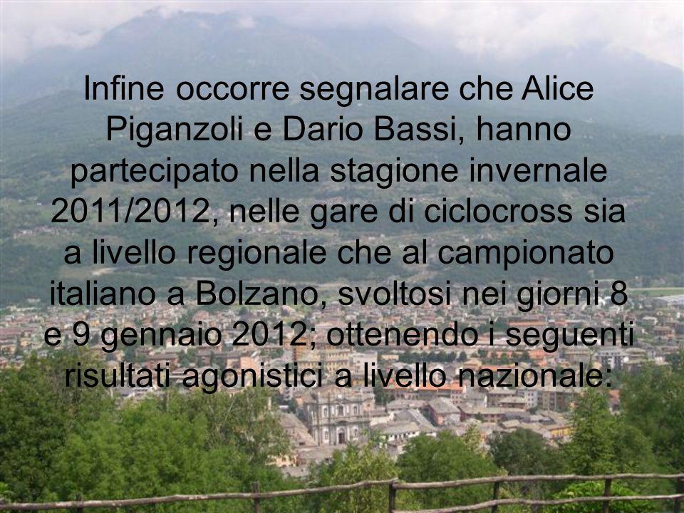 Infine occorre segnalare che Alice Piganzoli e Dario Bassi, hanno partecipato nella stagione invernale 2011/2012, nelle gare di ciclocross sia a livello regionale che al campionato italiano a Bolzano, svoltosi nei giorni 8 e 9 gennaio 2012; ottenendo i seguenti risultati agonistici a livello nazionale: